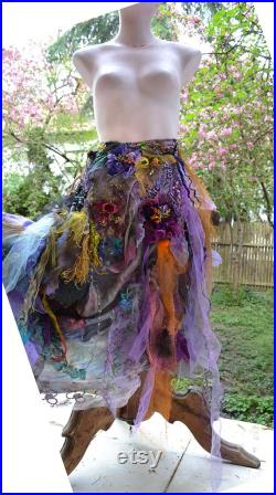 RESERVED Unique Art to Wear Lilac Lavender Gipsy Floaty Silk Rayon Skirt Forest Meadow LAVENDER SUMMER Altered Couture Fairy Boho Tattered