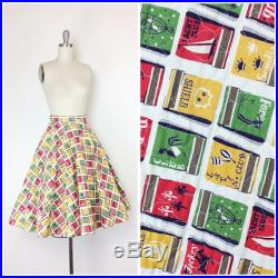 RESERVED for KELSEY 50s Match Box Print Quilted Full Skirt 1950s Vintage Novelty Print Circle Skirt Medium 26 inch waist