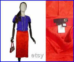 ROBERTO CAVALLI Just Cavalli ladies red stretchy logo and floral patterns pencil satin skirt S