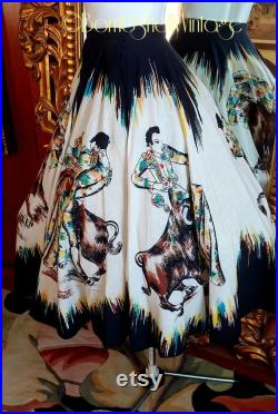 Rare Vintage 50's Mokambo Mexican Hand Painted Bull Fighter Theme Sequined Circle Skirt Rockabilly