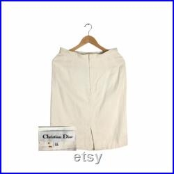Rare Vintage Christian Dior Cropped Skirt White Colour Christian Dior Women s CD Skirt Christian Dior
