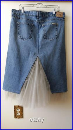 Reconstructed Levi JEAN SKIRT with Tulle RUFFLES, Women s Size 16