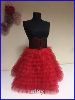 Red Cocktail Skirt, Maxi Tulle Skirt, Holiday Tulle Skirt, Party Skirt, Christmas Red Skirt, Prom Tutu Skirt, Bridal Tulle Skirt, Sexy Skirt