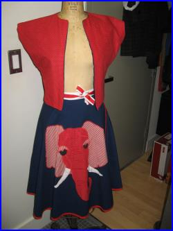 Republican Party Skirt Vest 1980's Alfredo's Wife Jerome Arizona USA Red White Blue Election Elephant Applique Wrap Skirt Vest Set Sm Med