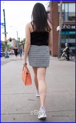 Reversible Asymmetrical Black and White Printed Pattern Mini Skirt with Buttons (Also Available in Dark Blue and Red)