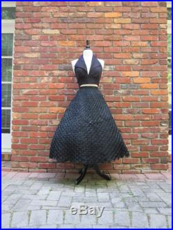 Roman Holidays Vintage 1950s 50s Ink Black Woven Raffia Circle Skirt with High Waist -French Riviera-Dolce Vita-Pinup-Bombshell-Starlet