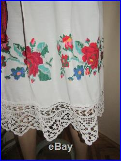 Romanian ethnic skirt hand embroidered traditional Romanian skirt with lace from Transylvania , ethnic hand made skirt vintage