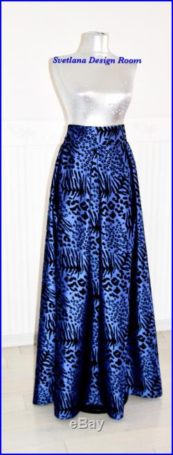 Royal Blue Skirt, Maxi Occasion Full Lenght Skirt, Blue Gown, Leopard Print, Animal Print, Cathedral Gown, Prom Separates