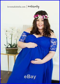 Royal blue lining Maternity Gown, Maternity Dress, Closed Lace Chiffon quarter sleeves maternity gown, Baby shower dress