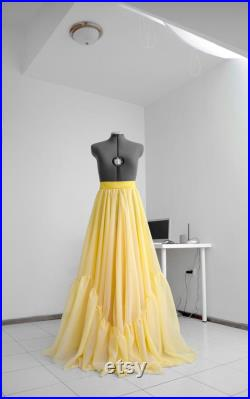 Ruffle skirt Flowy wedding skirt Bridal skirt Long yellow skirt Floor length skirt Made to measure Evening skirt Formal skirt Custom skirt