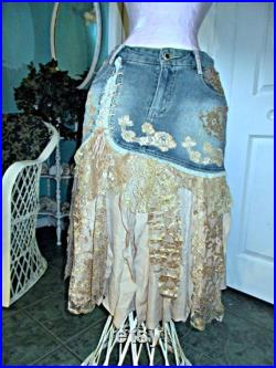 Ruffled lace jean skirt vintage French rose gold pink champagne silk appliqués bohemian festival cowgirl mermaid Renaissance Denim Couture