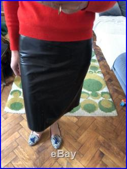 S Fr 36 Black leather pencil skirt knee length sexy Prada butter soft size 4