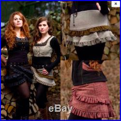 S-M BERRIES AND CREAM Harris Tweed Red Highlands Scottish Kilt Wrap Ruffle Mini Skirt Adjustable Plus Size
