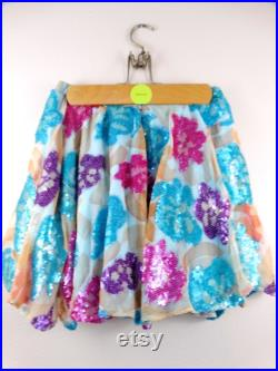 S M Bright Colorful Sequined Mini Skirt Pink Purple and Blue Floral Sequined Skirt with Shorts