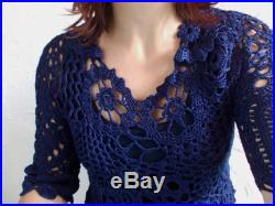 SALE 15 OFF Dark blue crocheted long skirt.feminine skirt, elegant, for all season. Can be purchased as a TWO piece suit.