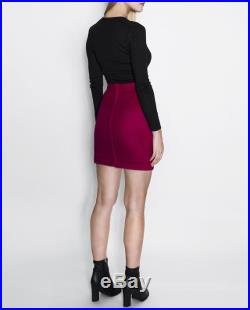 SELINA Reversible Cashmere Wool Blend Winter Fit-And-Flare Mini Skirt in Black Magneta Pink