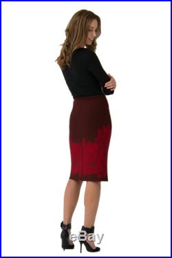 Scarlet Red Lily KNIT SKIRT Easy Care merino wool knitted fully fashioned jacquard Australian made and designed Pencil Skirt