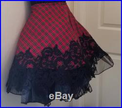 Sexy Wallace Tartan Plaid And Embroidered Lace Tulle Organza Tutu Skater Skirt Party Club Bridal Wedding Prom