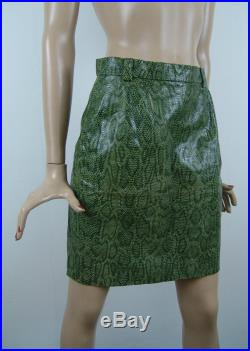 Shiny MARC CAIN real leather skirt, snake skin patter, olive green mini skirt, 1990's vintage womens clothing, XS S size