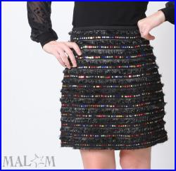 Short black skirt with sequins, party skirt, womens sparkly skirt