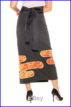 Silk Wrap Skirt Made From A Kimono Hand Embroidery In Gold Size Free