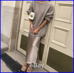 Silk midi Slip skirt beige pearl Silk Slip long fall trends looks fashion ideas midi A-line skirt bottoms Real Pure Mulberry Gift for her