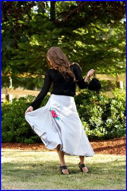 Silver grey women's skirt with satin panels and rose corsage. Many colors.