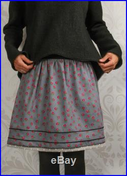 Skirt Dirndl meets city gray, floral corduroy skirt for women, knee-lenght, with pink flowers, stretchy waistband, vintage, weiberstyle