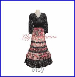 Skirt and top Ana flowers and polka dots size S-M -L you must send measurements