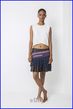 Skirt blue leather with lace and hmong