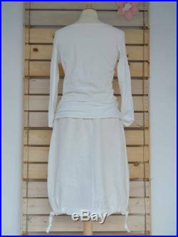 Skirt bubble convertible, hemp and organic cotton, clothing, eco , organic, bio atmosfere, made in italy, handmade, white and brown