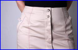 Skirt, long flared pencil shape, sand coloured in heavy weight twill