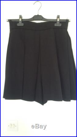 Skirt pants sheet-pleats Black wool Twill.
