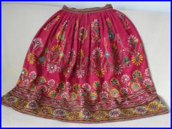 Skirt red handmade unique silk road nomad women, elaborate embroidery colorful flowers, ornaments, Native tradition, unique item collectible