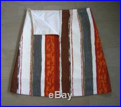 Skirt with Ancient Britons teatowel appliqué, linen skirt, fully lined, upcycle, orange brown white grey, size Large
