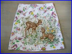 Skirt with embroidery of Two young Deer, fawns needlework A-line skirt, recycled tablecloth skirt, lined skirt, white pink green, size Small