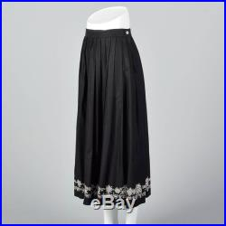 Small 1990s Anne Klein A Line Black Skirt White Embroidered Border Linen Midi Skirt Casual Spring Summer 90s Vintage