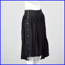 Small Asymmetric Pleated Skirt Decorative Pleating Button Sides 1990s Womens Vintage Skirt