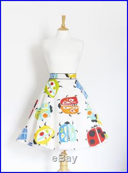 Spanish Mosaic Bug Print Cotton Flared Skirt Custom Made by Dig For Victory