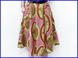 Spring Fashion African Midi Skirt, African Clothing, Red Summer Skirt, Pockets Skirt, Elastic Waist, Unique Women's Clothing