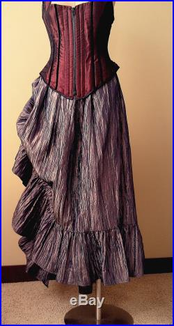 Steampunk Skirt Victorian Gathered Side Bustle Copper Crinkle Taffeta Petite to Plus size Victoria Style Custom to order XS-5XL