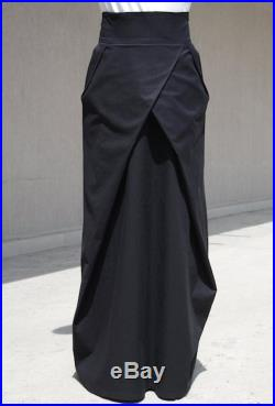 Straight Romantic Full Length Skirt with Pockets, Black Bohemian High Waist Skirt, Evening Loose Fit Bridesmaid Skirt, Urban Style Clothing