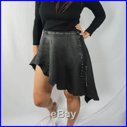 Studded Leather Wrap Skirt Hand Sewn One of a Kind