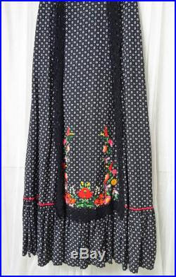 Stunning Vintage 1970s Black, White and Red Floral Print, Lace and Embroidered Gyspy Style Maxi Skirt