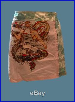 Tatoo Strass Dragon and God Patchwork Green Flowers Skirt S