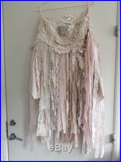 Tattered woodland skirt in light pink, tattered Elven skirt, gypsy skirt with antique laces ,gypsy couture, cottage chic skirt, handmade ,