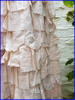 Tea Stained Recycled Skirt, Beige Long Ruffle Skirt, Bohemian Wedding Skirt, Cotton Lagenlook Style, Slow Fashion, Woodland Party, UK