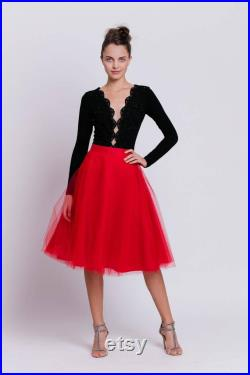 Tea-length tulle skirt with pockets, red tulle skirt, midi skirt with pockets, elegant midi skirt, adult tutu, evening skirt, prom