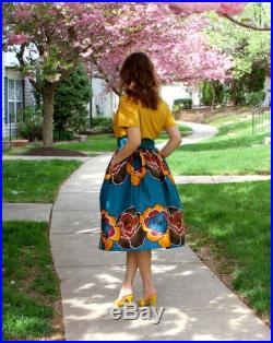 Teal-Green African Skirt African Print Skirt Midi Skirts Skirt with pockets Floral Print Skirt African Clothing Gift for her
