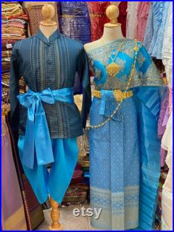 Traditional Thai dress for couple, Khmer dress, Thai wedding dress, Thai-lao dress ,Thai dress, Lao sarong, Lao clothing,